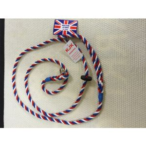 KJK Ropeworks Fine Cotton Rope Slip Lead - Red, White & Blue