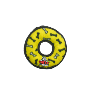 Tuffy Jr Ring Yellow Dog Toy