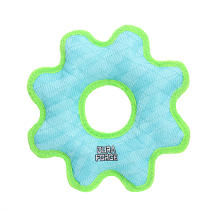 DuraForce Medium Gear Ring Tiger Blue-Green Dog Toy