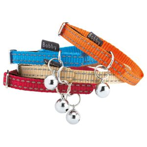 Bobby Nylon Reflective Cat Collar with Nickel Bell