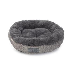 House of Paws Grey Hessian and Soft Plush Donut Cat Bed
