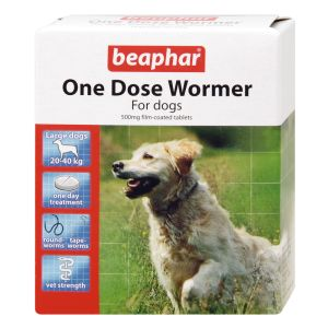 Beaphar One dose wormer  Dogs up to 40Kg  4 tablets