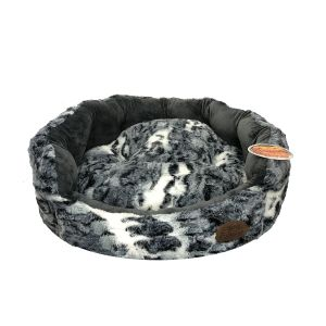 Snug and Cosy Grey Fur Softie Dog Bed in Charcoal