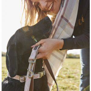 Barbour Taupe & Pink Tartan Reflective Dog Lead