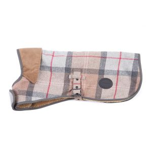 Barbour Wool Touch Dog Coat - Taupe/Pink Tartan