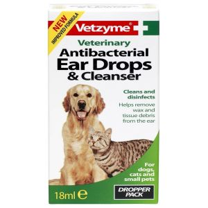 Vetzyme Antibacterial Ear Drops and Cleanser  18ml